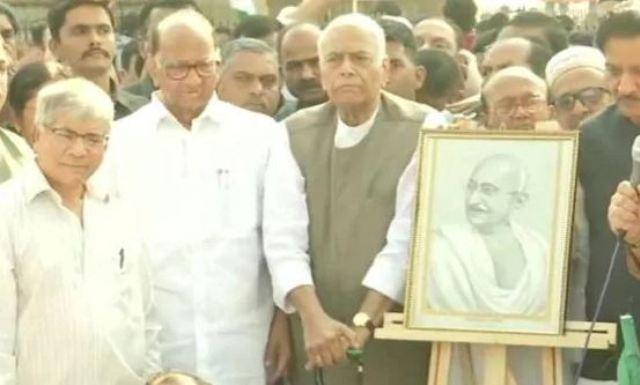 CAA-NRC के विरोध में यशवंत सिन्हा की गांधी शांति यात्रा शुरू, कई विपक्षी नेता पहुंचे