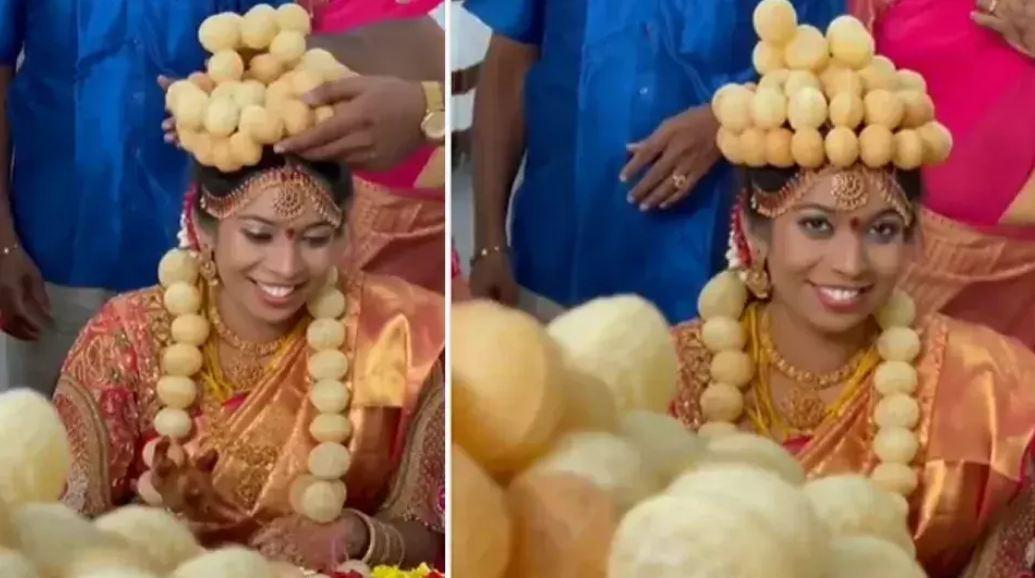 VIDEO: गोलगप्पे की शौकीन दुल्हन को शादी में पहनाया गोलगप्पे की वरमाला और मुकुट, देख नहीं रोक पाएंगे हंसी