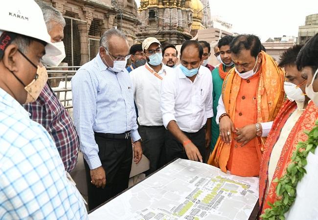 डिप्टी सीएम केशव प्रसाद मौर्य ने बाबा विश्वनाथ कॉरिडोर का किया निरीक्षण, कार्यों में तेजी लाने के दिये निर्देश