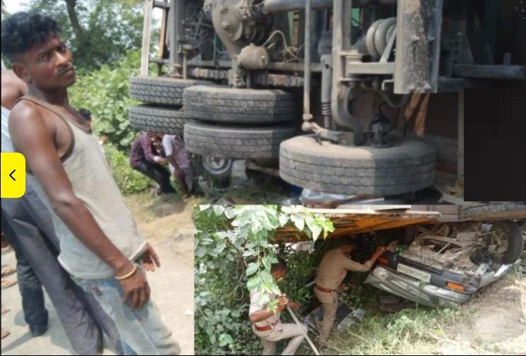 लखनऊ: तेज रफ्तार बेकाबू ट्रक वैन पर पलटा, पांच लोगों की दर्दनाक मौत