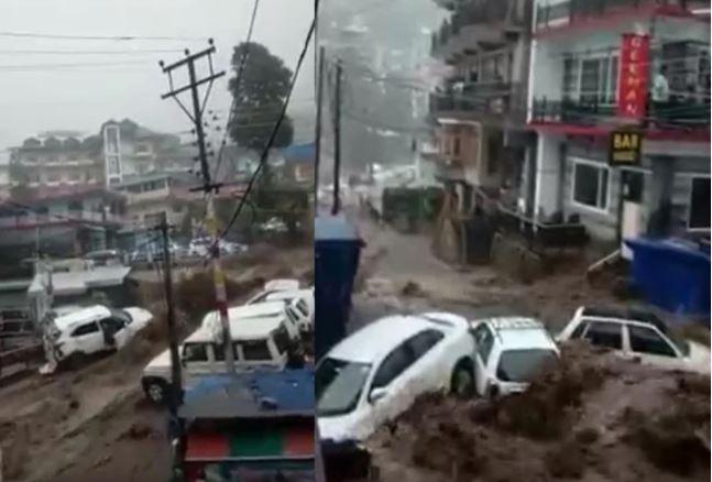 हिमाचल में बादल फटा बहीं गाड़ियां, कई मकान भी हुए क्षतिग्रस्त