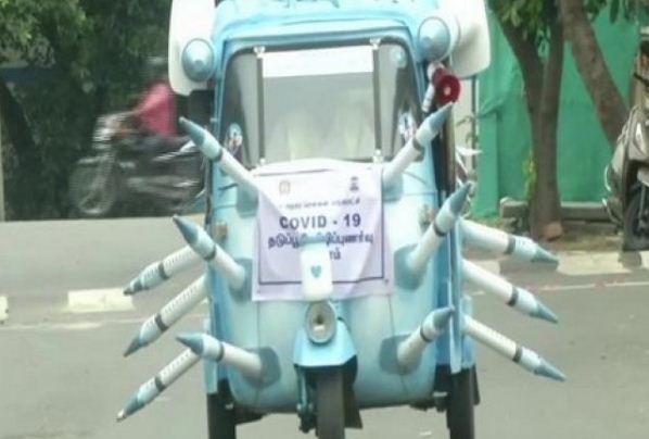 चेन्नई के कलाकार ने बनाया वैक्सीन आटो, टीकाकरण के लिए कर रहा प्रोत्साहित
