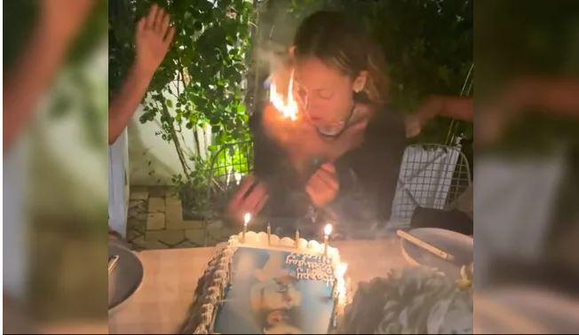 Viral Video : एक्ट्रेस काट रही Birthday Cake तभी बालों में लगी आग, फिर देखें क्या हुआ