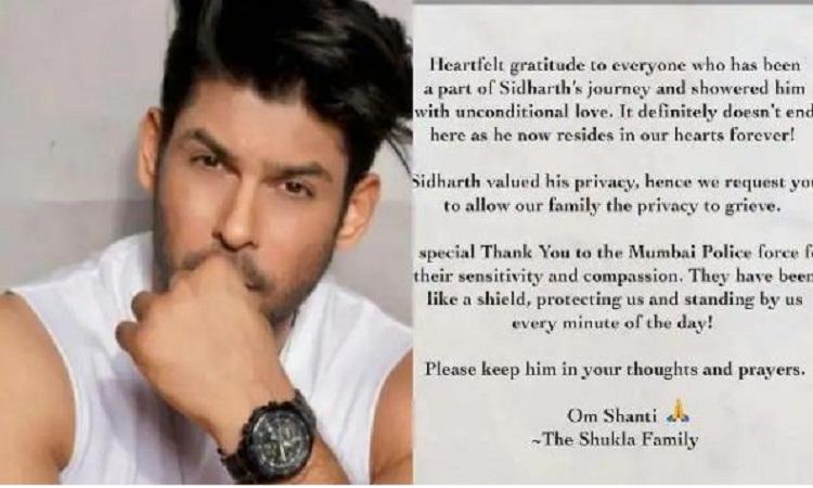 Siddharth Shukla: अभिनेता सिद्धार्थ शुक्ला के निधन के बाद परिवार का पहली बार आया बयान, कहीं ये बातें…